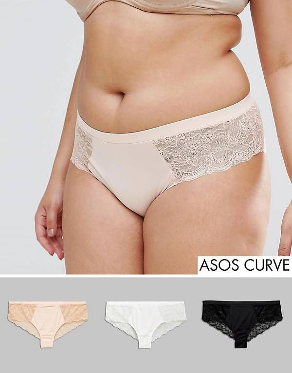 ASOS CURVE 3 Pack Microfibre & Lace French Underwear