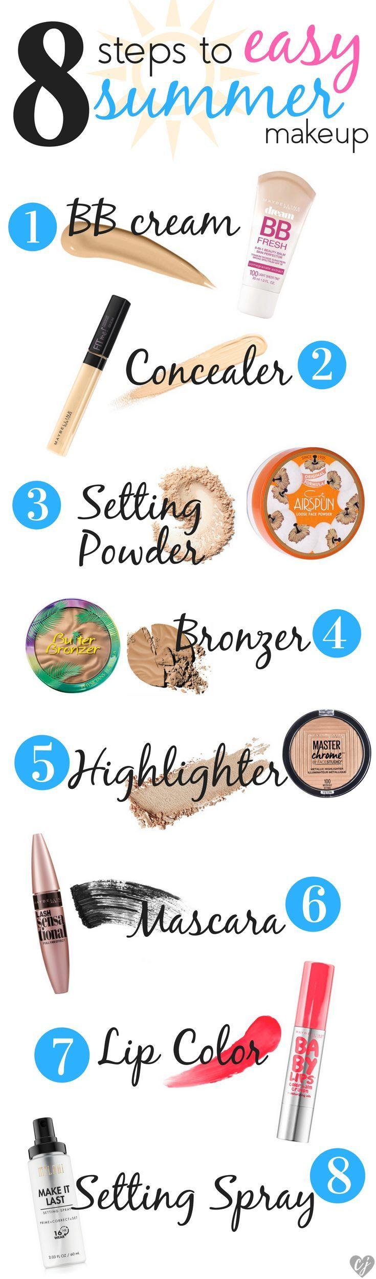 8 Schritte für einfaches Make-up im Sommer – #Drugstore #easy #steps # summer …
