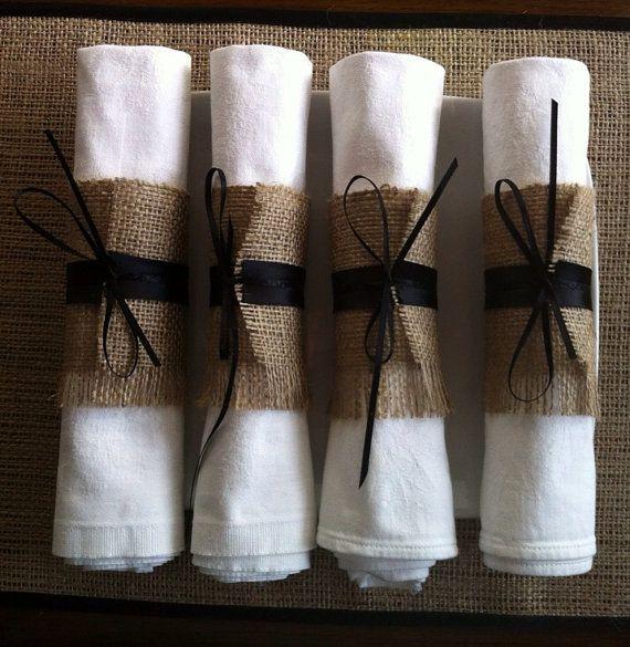 Halloween wedding silverware holders, 4 burlap cutlery wraps