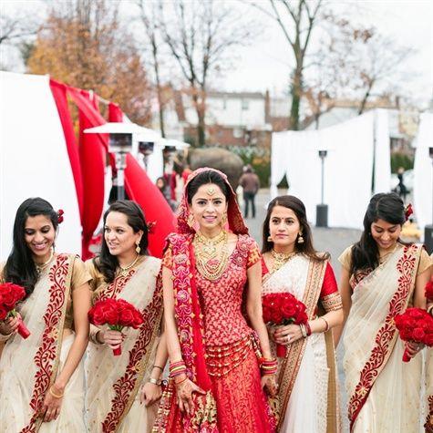 Brides hair up maids hair down look