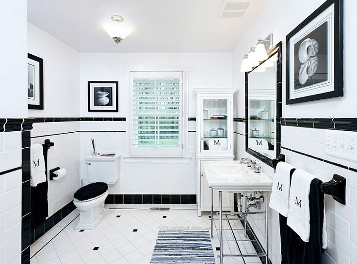 Gallery For Website White and black bathroom boasts an alcove filled with shelves holding towels alongside a white and black floor in Cement Tile Shop Bordeaux Tiles like the