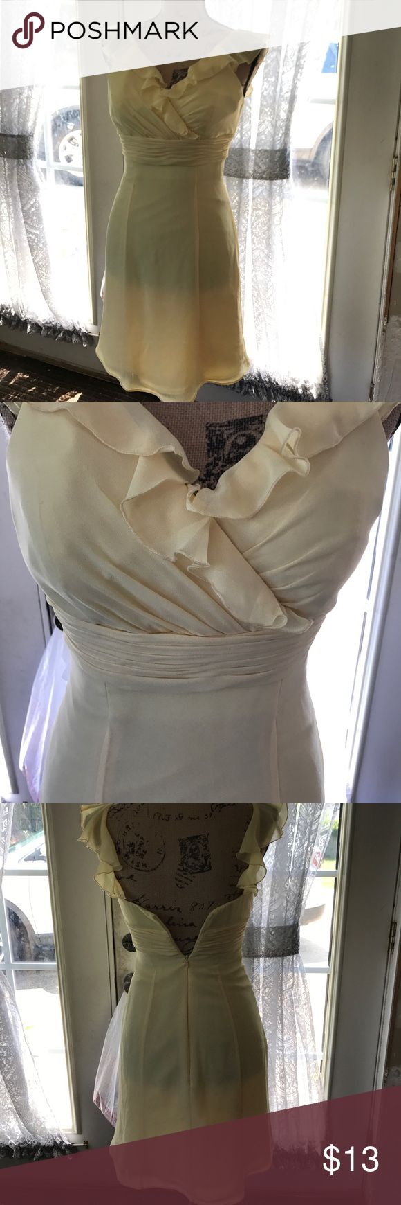 Women's Light Yellow Sundress Light yellow flowy Sundress by B2. No flaws at all. Size 2z made of 100% polyester. Butterfly sleeves. Zips and snaps up the back. Pleated waistband gives a nice trim effect. EUC. Only worn once. B2 Dresses Midi