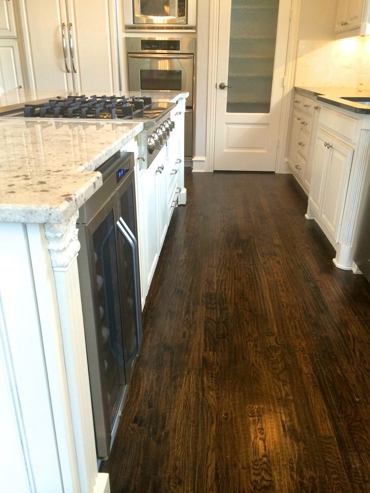 Our After Kitchen Dark Wood White Dove Cabinets With