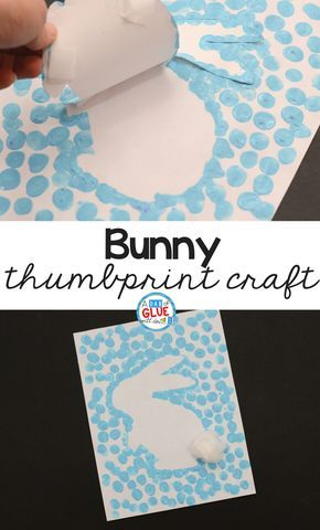 Spring and Easter Crafts are so much fun! This Bunny Thumbprint Art is a great activity to do during springtime with your students! #easter #art