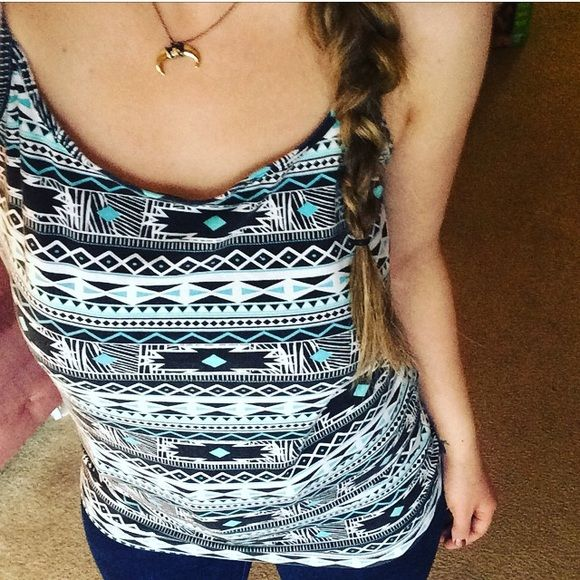 Aztec Cami Spaghetti strap tank top with black, white, and turquoise Aztec print. Size large. Worn and washed a few times. No defects. Tops Tank Tops