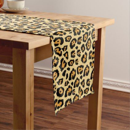 Orange and Black Leopard Print Short Table Runner - chic design idea diy elegant beautiful stylish modern exclusive trendy