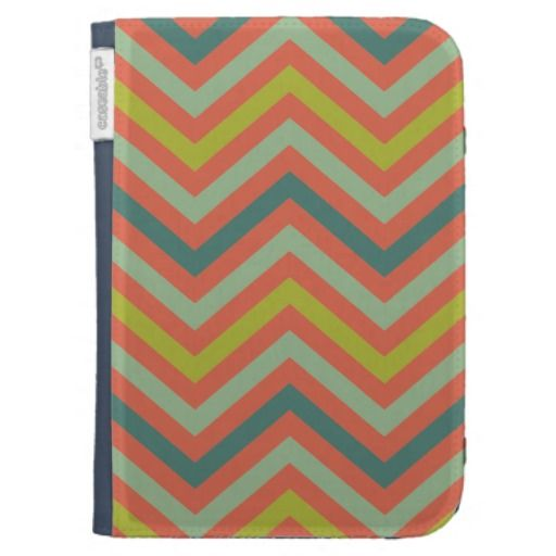 Red/Jade/Yellow/Blue Chevron Pattern Kindle Folio Case - Unique chevron pattern. Enjoy being unusual. Now available on my shop!