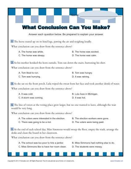 What Conclusion Can You Make? Drawing Conclusions Worksheet Practice Activity