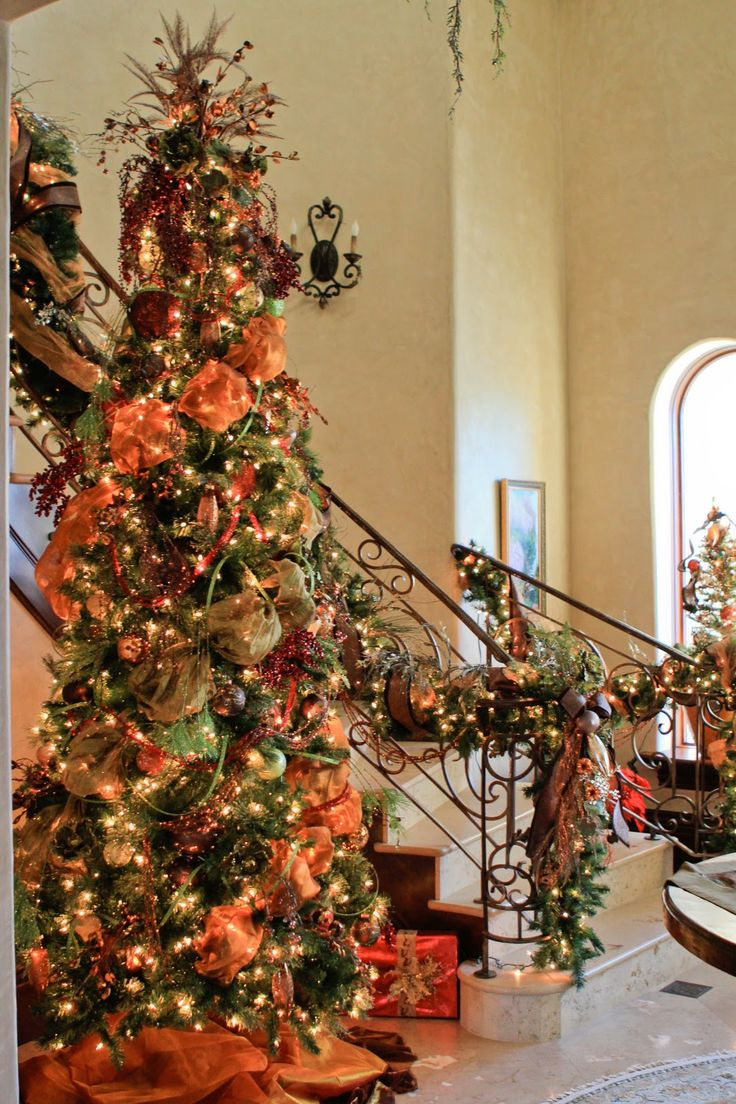 christmas tree and stairway with orange moire and burgundy velvet ribbon