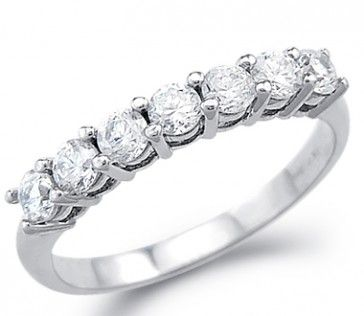 CZ Wedding Ring 14k White Gold Anniversary Band Cubic Zirconia 1.00 CT