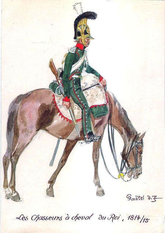 Chasseurs à cheval du Roi sous la Première Restauration (image Pinterest).
