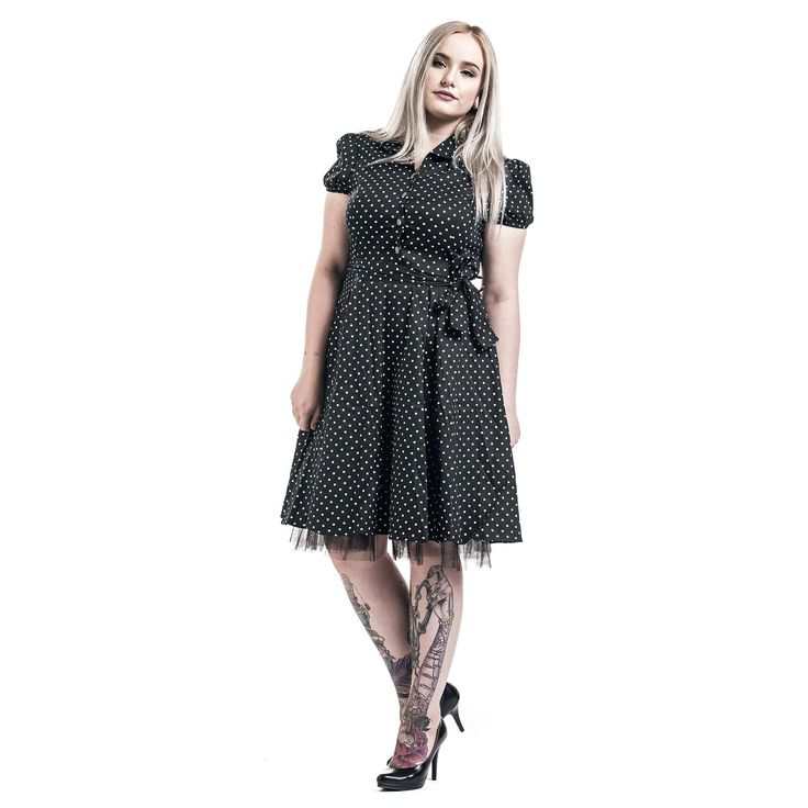"Abito a maniche corte ""Black White Small Dot Long Dress"" di #H&RLondon, nero con pois bianchi in stile Vintage con sottogonna in tulle 100% poliestere. lu.: 99 cm circa."