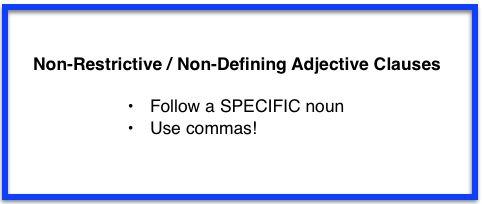Unit 3 Nonrestrictive Adjective Clauses