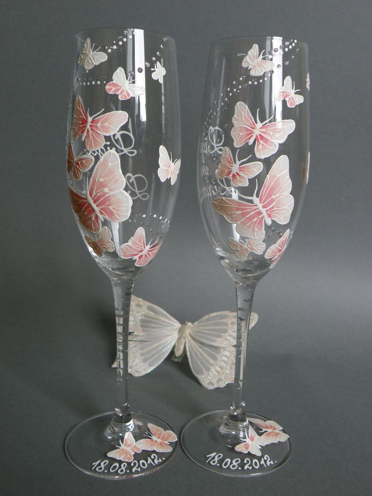 Hand painted Wedding Toasting Flutes Set of 2 Personalized ...