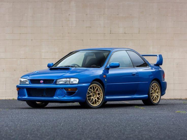 excellent wallpaper Classic car Subaru Impreza blue wallpaper