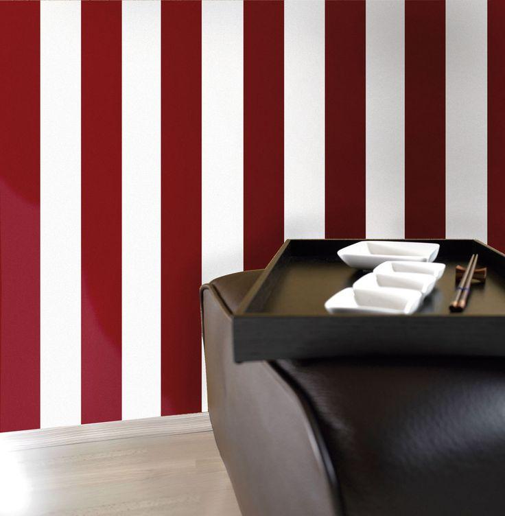 Empapelado - rayado bordó - Papel de parede