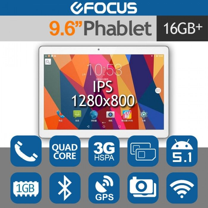 """CUBE U63 9.6"""" IPS 3G Tablet Phone Phablet Android 5.1 Quad Core 16GB"""