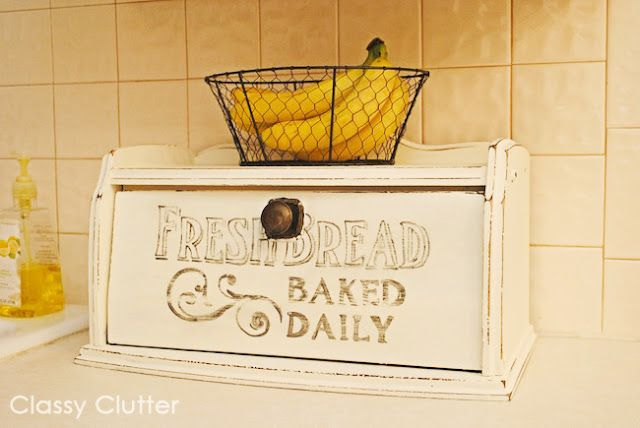 Classy Clutter: Fresh Bread Hand painted Bread Box
