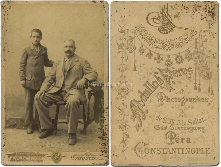 ABDULLAH FRERES is the brand name of three Armenian brothers, Vicen, Hovsep and Kevork Abdullahian, who are the builders of the Photography Art in Turkey. They were awarded with 'The Photographer of the Sultan' title by Abdulaziz and Abdulhamit II. Abdullah Freres shot many photographs showing us the habitants of İstanbul as well as the beautiful views. They also took pictures of many famous and imperial people like, King of Britain, German and Avustria-Hungarian Emperors.