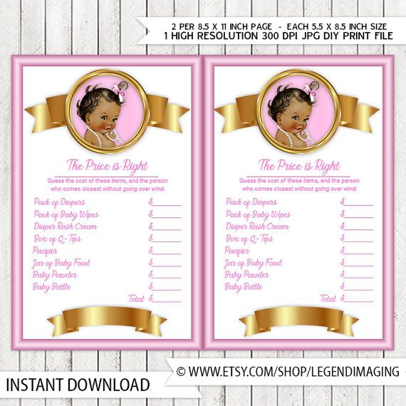 Girls Price is Right Baby Shower Game Pink Gold Pearl Ethnic