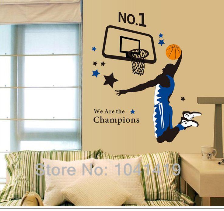 Мы Чемпионы Звезда Баскетбола Мальчиков Декор Номеров Наклейки На Стены Стикеры Стены Пастер Настенная 90*100 см/35 ''* 40in