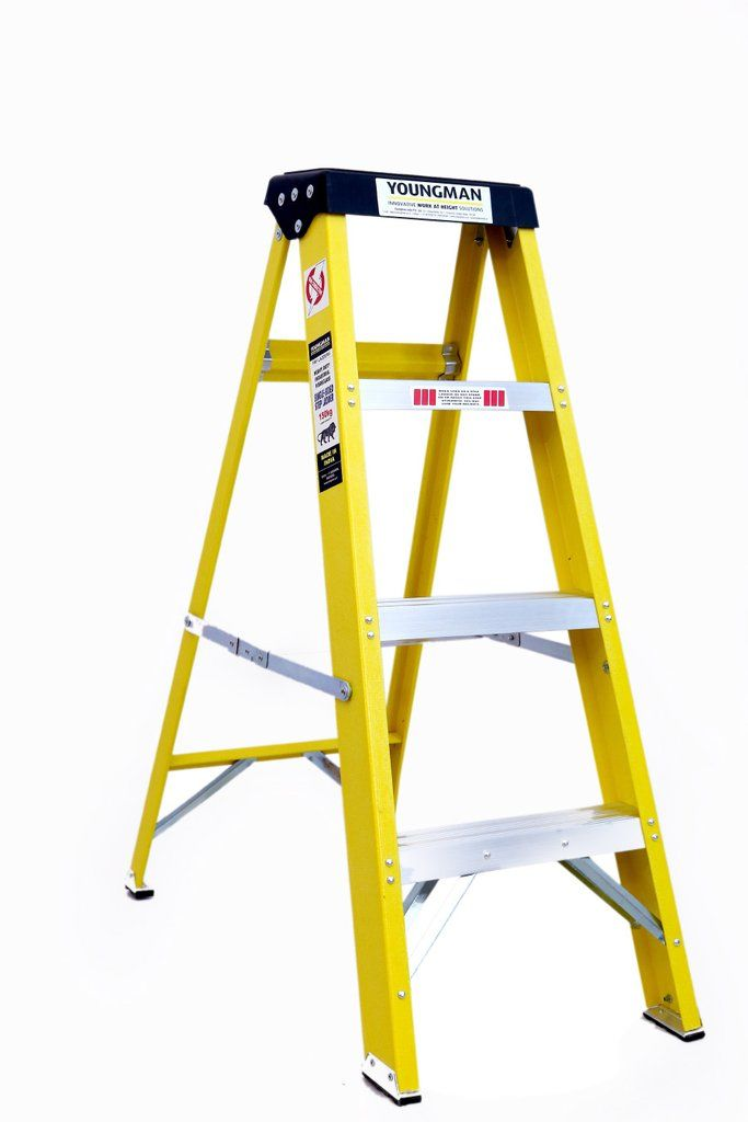 Youngman Electric Shockproof Frp Fibreglass Step Ladder For Home Use 4 12 Treads In 2020 Step Ladders Ladder Fiberglass