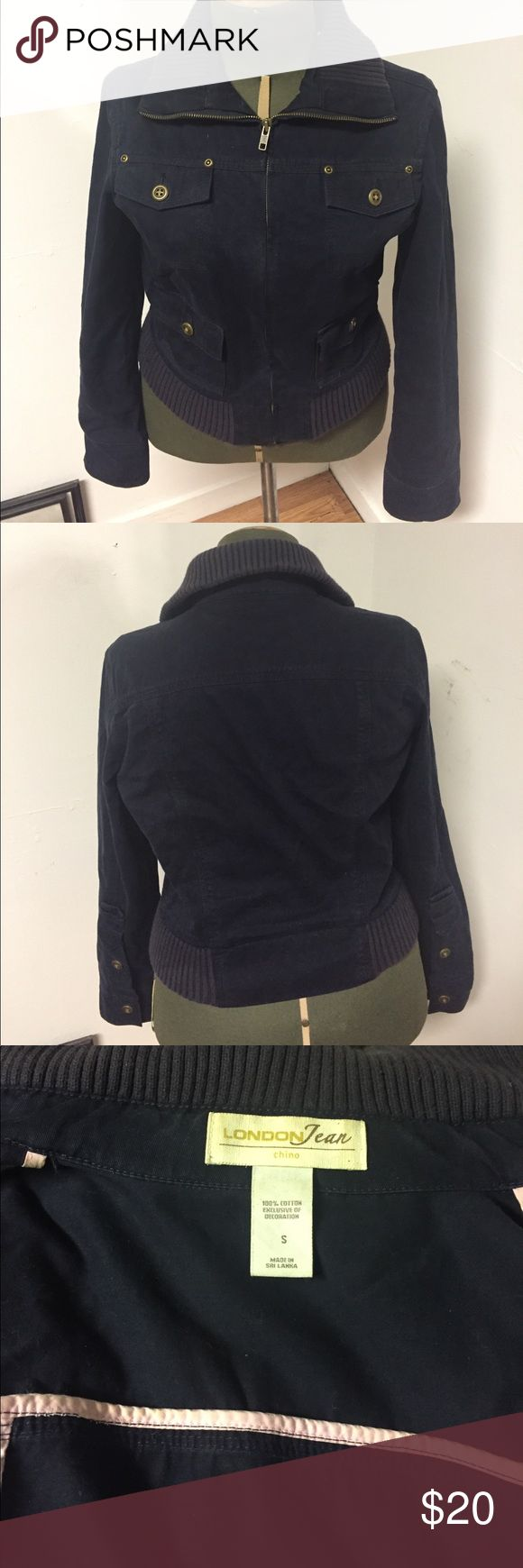 Navy blue Chino Jacket perfect for fall 🍃 Cute addition to your fall wardrobe. Navy blue Chino Jacket perfect for fall 🍁 🍃 Reasonable offers and bundle for more discounts. London House Jackets & Coats Jean Jackets