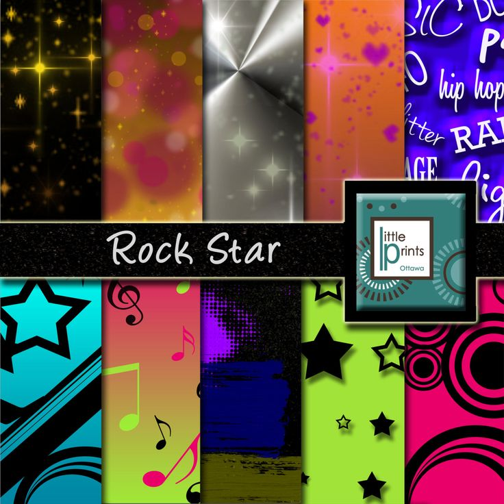 Digital Paper - Rock Star, Digital scrapbook paper, party paper, birthday invite, kid's birthday, hot pink background, glitter paper - pinned by pin4etsy.com