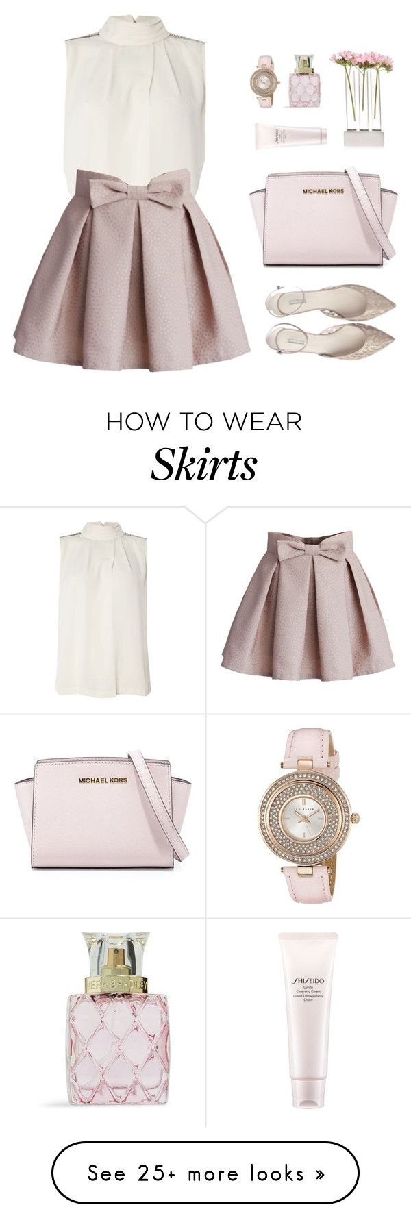 """Romantic Blush"" by sweetpastelady on Polyvore featuring Y.A.S, Chicwish, Ted Baker, MICHAEL Michael Kors, Vera Bradley, Shiseido, Chive, women's clothing, women's fashion and women"