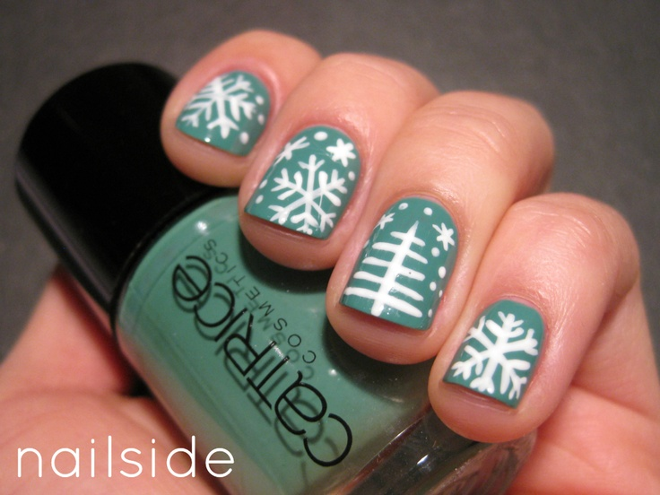 Winter Nail Art, Green or Blue Background, White Christmas Tree or White Snowflake.
