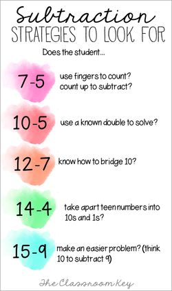 Subtraction strategies to look for - a cheat sheet for elementary math teachers