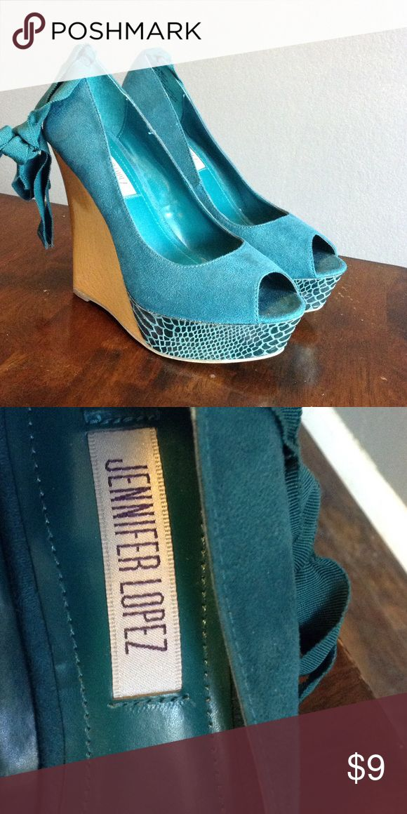 Jennifer Lopez Teal Wedges Size 8 Super cute teal wedges size 8 Jennifer Lopez Shoes Wedges