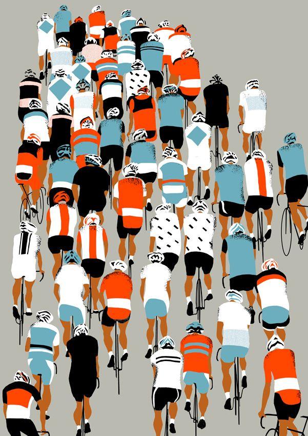 Sans aucun fond et paysages, nous pouvons quand même comprendre de quoi cette photo veux démontrer. J'aime la reprise de couleurs en faisant plusieurs motifs différents sur les cyclistes.
