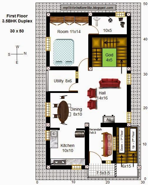 Cool And Opulent 2 Duplex House Plans For 30x50 Site East Facing My Little Indian Villa 43R36 35BHK In East On Home