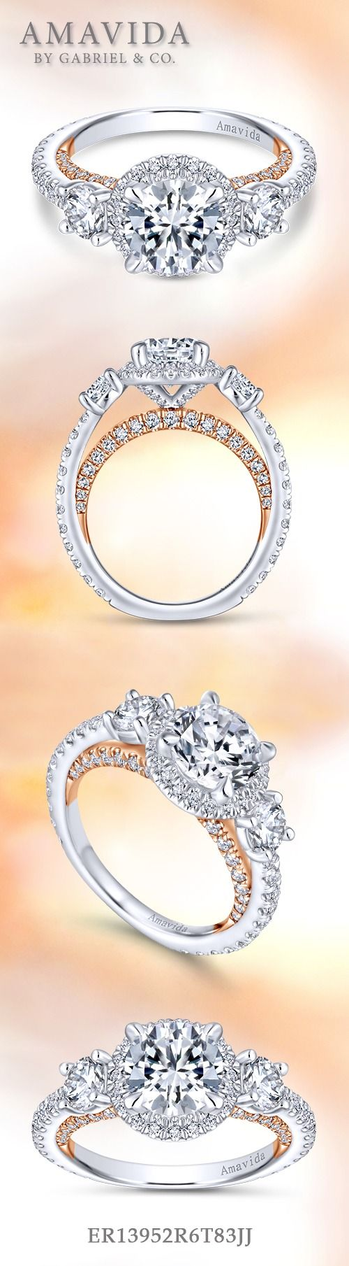 Gabriel & Co.-Voted #1 Most Preferred Fine Jewelry and Bridal Brand. 18k White / Rose Gold Round 3 Stones Halo Engagement Ring