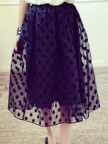 Fashionable Polka Dot Print Organza Spliced Skirt For WomenSkirts | RoseGal.com