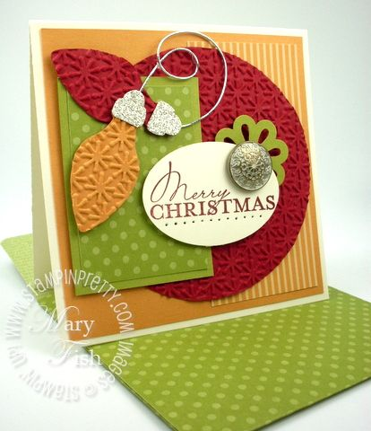 Funky Christmas card - love the colour combo too: lucky limeade, more mustard, and cherry cobbler