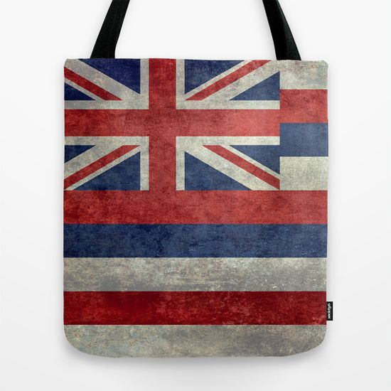 The State flag of Hawaii - Vintage version Tote Bag #Hawaii #flag #Hawaiianflag #vintage #retro