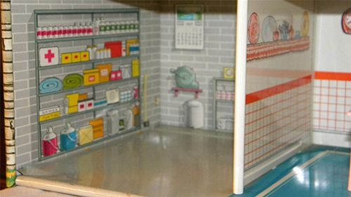 Marx-doll-house with bomb-shelter