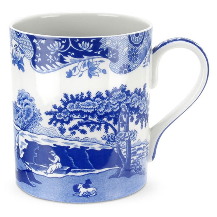 Blue Italian Set Of 4 Jumbo Mugs In Blue And White