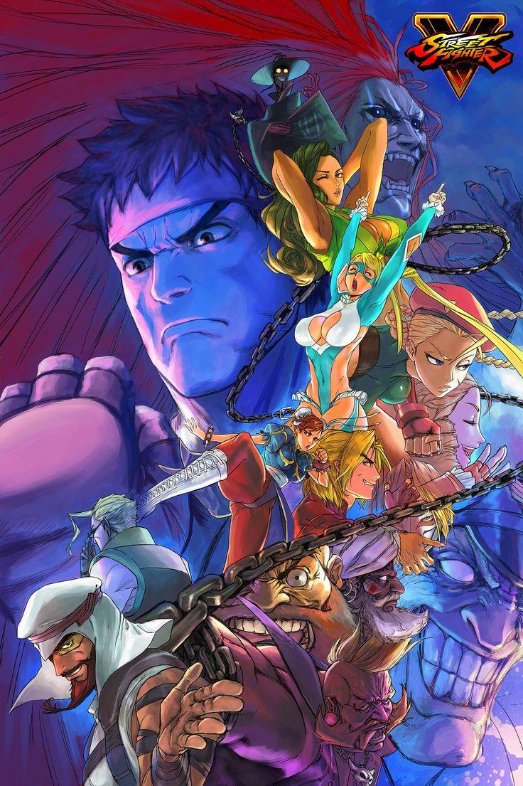 Street Fighter V fan-art by Bengus - Ryu, Chun-Li, Nash, M. Bison, Cammy, Birdie, Ken, Necalli, Vega, R. Mika, Rashid, Karin, Zangief, Laura, Dhalsim