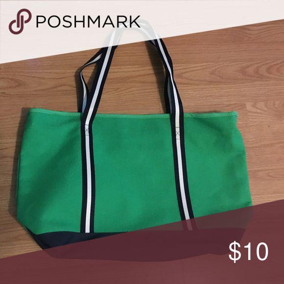 "Canvas Beach Bag Canvas Beach Bag w/ zipper to close. Never Used! Green, Navy & White. 23""w x 15""t Bags Travel Bags"
