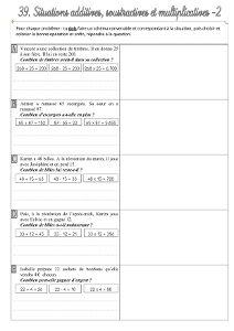 Résolution de problèmes CE2 ♦ Addition, soustraction ou ...