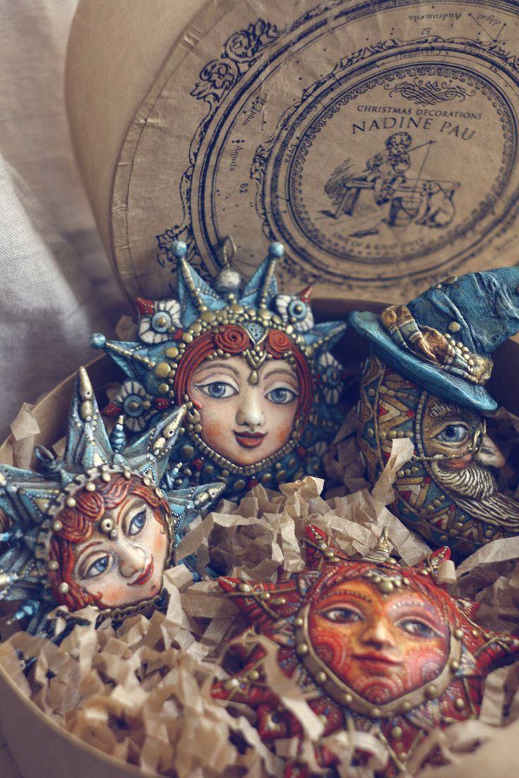 "Nadine Pau 2016 a collection ""Star Story"" -  Christmas decorations. Papier mache, oil patina varnish. #christmasdecorations #christmasornaments #nadinepau"
