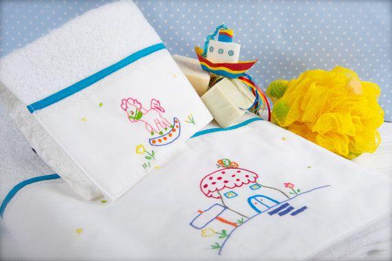 set 2 baby towels bath hand towel hand by babysdreamfairytales
