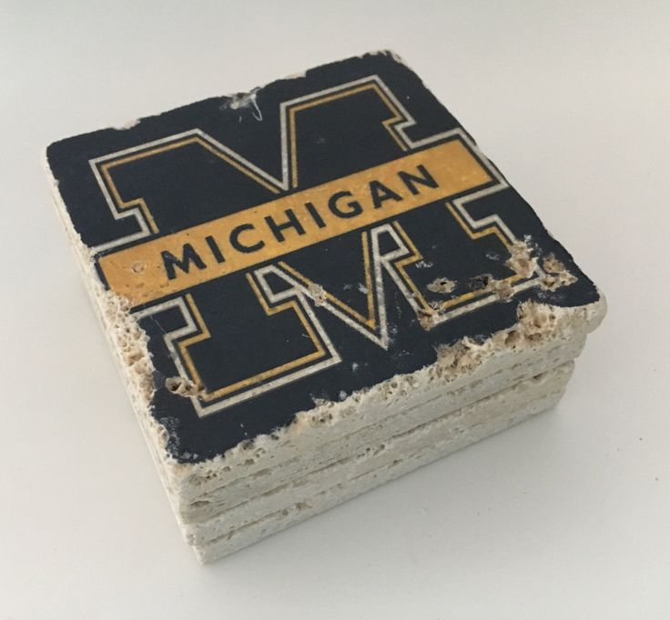 University of Michigan Natural Travertine Tile Tumbled Stone Table Coasters Set of 4 with Full Cork Bottom