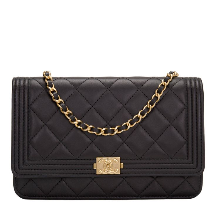 Chanel Black Quilted Lambskin Boy Wallet On Chain (WOC) | From a collection of rare vintage crossbody bags and messenger bags at https://www.1stdibs.com/fashion/handbags-purses-bags/crossbody-bags-messenger-bags/