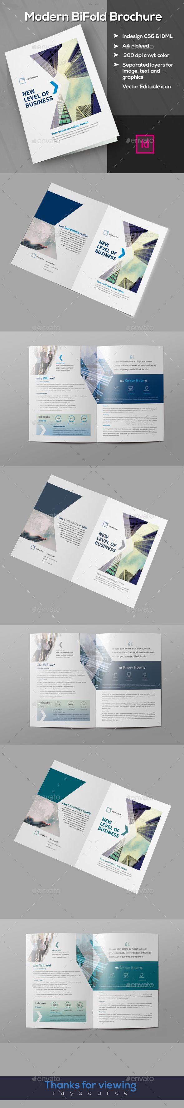 Modern Bifold Brochure Template InDesign INDD. Download here: https://graphicriver.net/item/modern-bifold-brochure/17417893?ref=ksioks