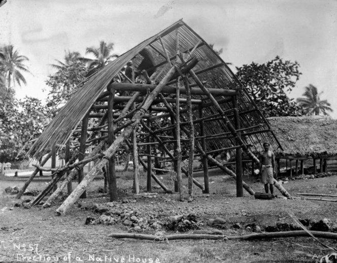 House under construction, Western Samoa