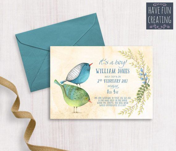 Baby Boy Announcement: Birds  Print at home by havefuncreating